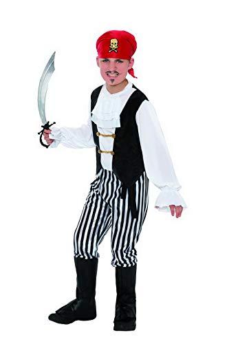 Luxuspiraten - Jungen Kinder Piraten Komplett-Kostüm mit Hemd, Hose, Überschuhe, Kopftuch und Gürtel, perfekt für Karneval, Fasching und Fastnacht, 140-152, Schwarz (Kostüme Für Johnny Halloween Depp)