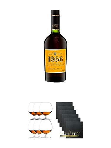 1866 Brandy Gran Reserva 0,7 Liter + Cognacglas/Schwenker Stölzle 6 Gläser - 103/18 + Schiefer Glasuntersetzer eckig 6 x ca. 9,5 cm Durchmesser