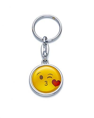 Schlüsselanhänger Emoji Kuss Küssen Kiss Smiley Glückliches Gesicht Happy Face Silber Farbe