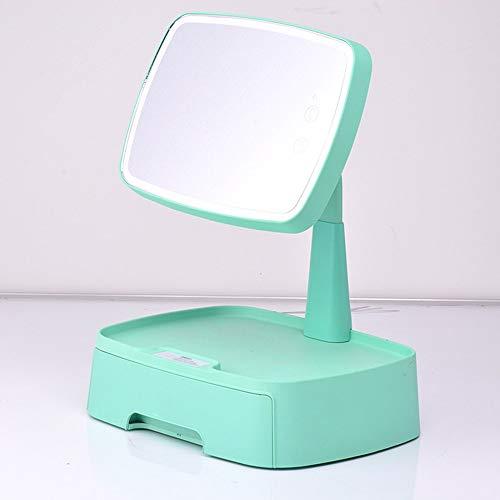 Miroir de maquillage XIAHE À Induction LED avec Boîte De Rangement Bureau Multifonction Rotation Beauté Remplir Lumière Maquillage Miroir Lampe De Table Miroir Pliant Multifonctionnel