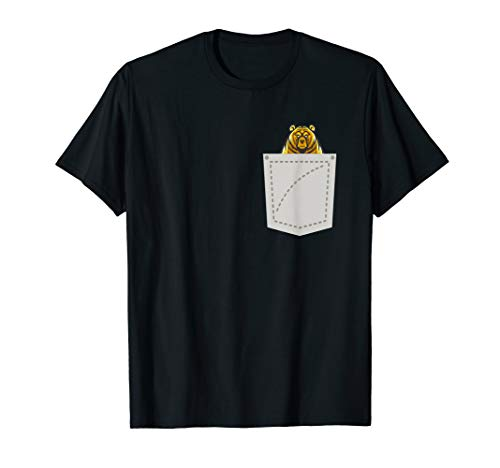 Angry Bear On Pocket Funny T-Shirt -