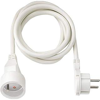 Brennenstuhl Rallonge 2m avec Fiche plate (IP20, H05VV-F 3G1,5, avec anneau rabattable pour débrancher facilement), Blanc