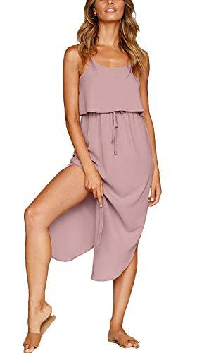 Odosalii Damen Ärmellos Strandkleid Boho Blumenmuster Maxikleid Verstellbaren Spagettiträgern Sommerkleid mit Schlitz (Medium, Pastellrosa)