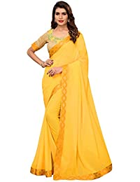 Pratham Blue Women's Georgette Saree with Blouse Piece (Yellow Free size)