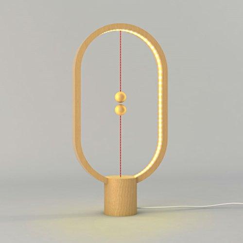 Preisvergleich Produktbild Heng - Design LED Lampe - Ausgefallene Leuchte für Wohnzimmer / Schlafzimmer in hochwertigem stabilen Holz mit USB Anschluss in warm weißem Licht