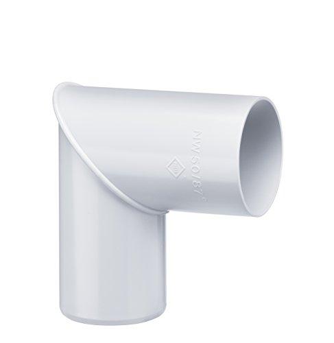 INEFA Rohrbogen DN 50, 87°, Weiß Kunststoff, Regenrinne, Dachrinne