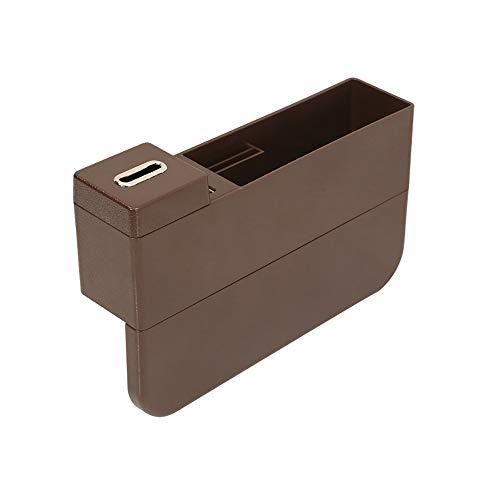 USB-Ladegerät Multifunction Auto-Telefon-Münz Aufbewahrungsbox, Zwei USB-Anschlüsse, Braun