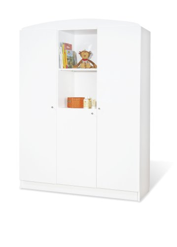 Pinolino Kleiderschrank Jil groß, moderner, 3-türiger Kleiderschrank mit 2 offenen Fächern, weiß, Maße 135 x 53 x 190 cm (Art.-Nr. 14 00 90 G)