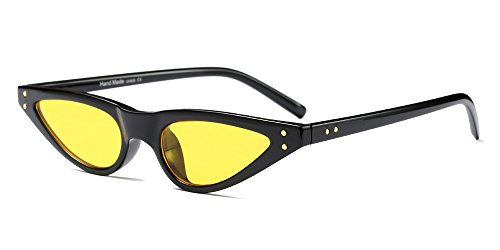 BOZEVON Damen Mode UV Brillen Cool Retro Klassisch Dreieck Sonnenbrille, Schwarz/Gelb