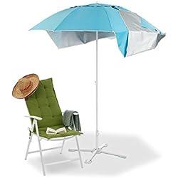 4b4e995af427 Relaxdays 10023310 Tenda da Spiaggia, Ombrellone Mare con Custodia,  Protezione Solare UV 50,
