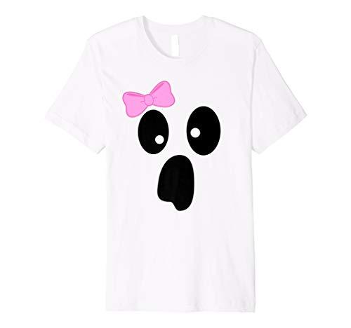 (Funny Face of Ghost Girl Pink Schleife T Shirt Halloween-Kostüm)