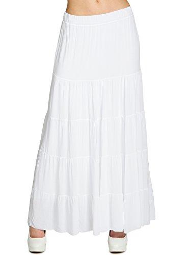 Zigeuner Weiße Lange Rock (CASPAR RO020 langer eleganter Damen Maxi Sommer Rock Faltenrock, Farbe:weiss;Größe:S/M)