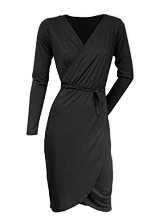 Jersey-Kleid Wickeloptik Wickelkleid langärmlig (38, Schwarz)