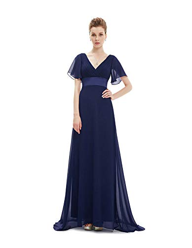 Ever-Pretty Plus Size Double V-Neck Evening Gowns Long Bridesmaid Cocktail Dress Navy Blue 14