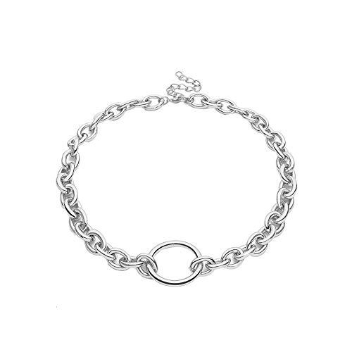 Oce180anYlv Halskette Beauty Neck Punk Women Hollow Circle Pendant Linked Curb Chain Necklace/Bracelet ()