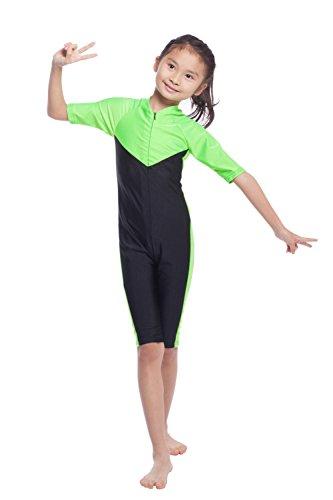 Mädchen Kurzarm Badeanzug Muslimischen islamischen eins Stück Bescheiden Bademode (M, Grün) (Athleta Lange Ärmel)