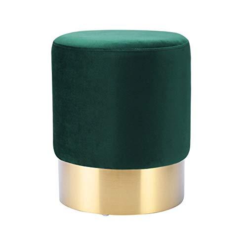 Repose-Pieds Tabouret de Maquillage Moderne Tabouret en Daim Style européen Changement de Chaussure Banc Tabouret Hauteur 42 × Diamètre 35 cm GW (Couleur : Vert foncé)