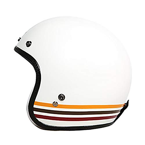 QZFH Motorradhelm Fiberglas Retro Motorrad Sicherheitshalbhelm Prince Helm, ECER22.05 Approved Jethelme Bright (54-64Cm),XXL