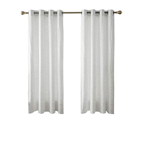 Deconovo Vorhänge Halbtransparent Ösenvorhang Gardinen Wohnzimmer 175x140 cm Weiß 2er Set
