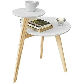 WOHNLING 2er Set Beistelltisch Massiv-Holz Sheesham Design