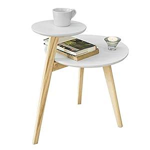 SoBuy® FBT53-WN Design Beistelltisch mit 2 Tischplatten Couchtisch Kaffeetisch Balkontisch weiß/Natur BHT ca: 40x54x47cm