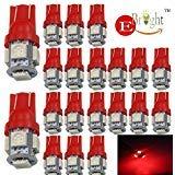 EverBright 20-Pack DC 24V, 194 168 2825 rouge T10 W5W 5050 5-SMD ampoule LED pour voiture remplacement éclairage intérieur dégagement coin tronc Dashboard ampoule plaque d'immatriculation lampe