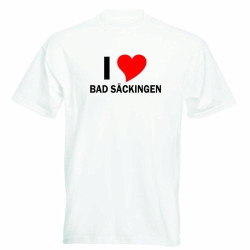 T-Shirt mit Städtenamen - i Love Bad Säckingen- Herren - unisex Weiß