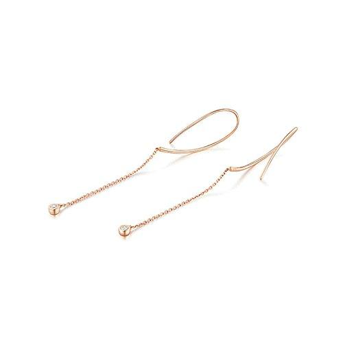 AMDXD 18K Oro Rosa Diamante Orecchini per Donna,Semplice Intersecare Linea Design