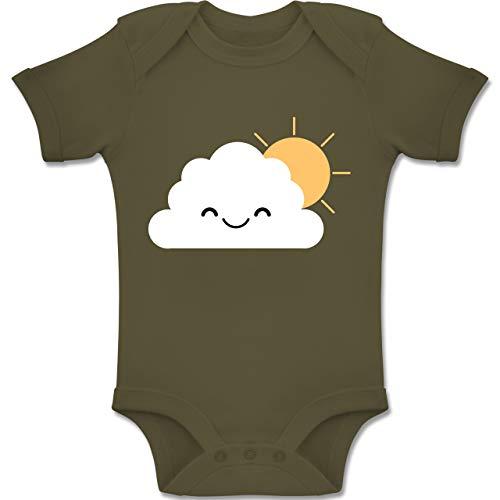 Regen Wolke Kostüm - Shirtracer Karneval und Fasching Baby - Wolke Karneval Kostüm - 3-6 Monate - Olivgrün - BZ10 - Baby Body Kurzarm Jungen Mädchen