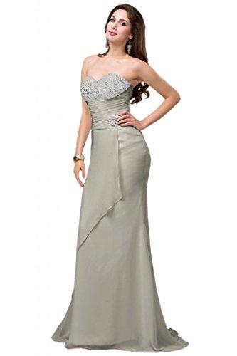 Sunvary Elegant Traegerlos Chiffon Lang Perlen Fischform Abendkleid Ballkleider Silver