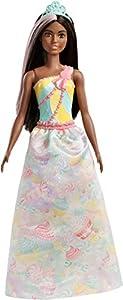 Barbie Dreamtopia - Muñeca Princesa castaña con conjunto de colores de caramelo (Mattel FXT16)