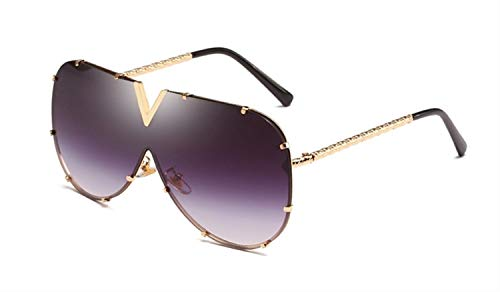 RZRCJ 1 Stück Sonnenbrille Männer Übergroße Sonnenbrille Für Frauen Sonnenbrille Metall UV400 Spiegel (Lenses Color : Gold w Gray)