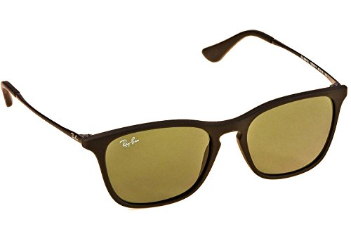 Ray-Ban Junior Keyhole Square Sunglasses in Black Rubber Green RJ9061S 700571 49
