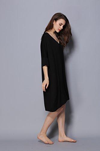 Fortuning's JDS Sleepwear da notte in velluto a 3/4 modal con collo a V e maniche lunghe per donna Nero