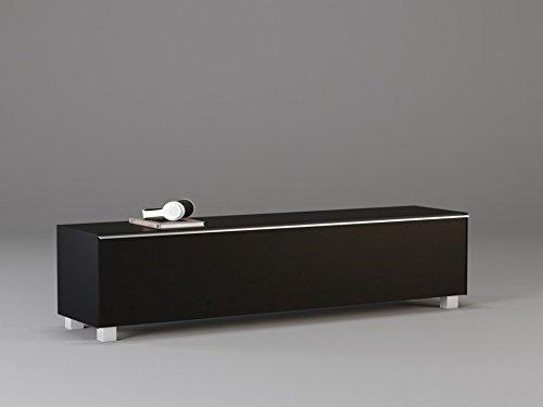 TV-Board Soundboard MAJA Soundconcept verschiedene Farben mit Akustikstoff schwarz in 140x43x42cm oder 180x43x42cm (180, Schwarzglass)