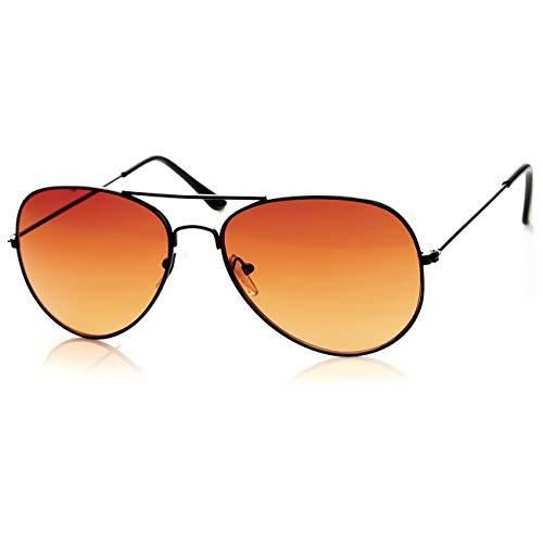 Kiss Sonnenbrille BLUE BLOCKER mod. AIR FORCE 1-stil Aviatore - gelben Gläsern vs. Licht Blau herren damen VINTAGE - SCHWARZ