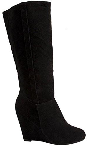 Elara Damen Stiefel | Bequeme Keilstiefel | Langschaft Wildlederoptik Farbe Schwarz, Größe 40