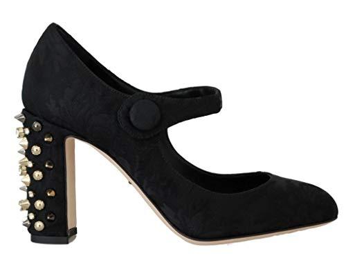 Dolce & Gabbana - Damen Schuhe - Schwarze Pumps - Black Brocade Crystal Gold Studded Shoes