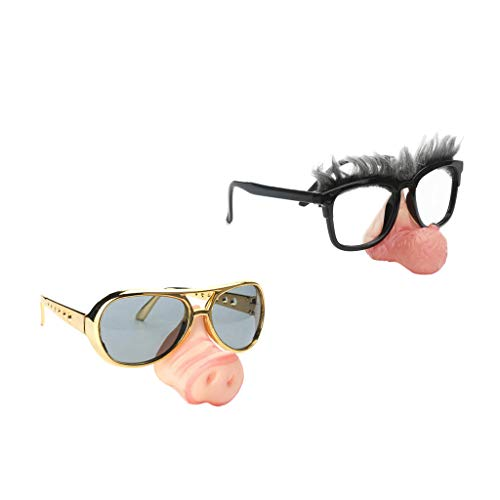 Alter Lustig Mann Kostüm - D DOLITY 2 Stücke Neuheit Große Nase Alter Mann Schwein Nase Sonnenbrille Lustige Party Brillen Kostüm Brillen Für Erwachsene Kind
