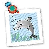 3dRose Bettlaken, quadratisch, Delfin, Blau, 25,4 x 25,4 cm