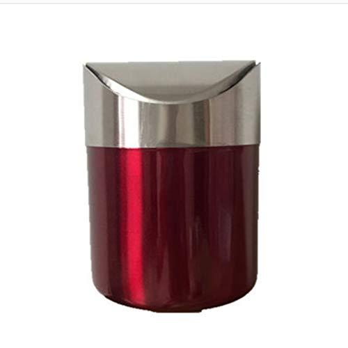 Zlw-shop Secchi per la spazzatura Mini Secchio da Tavolo della pattumiera da tavolino della pattumiera del Salotto del tavolino da Salotto della pattumiera dell'Acciaio Inossidabile (Color : Red)