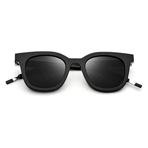 Shiduoli Round Face Square Sonnenbrille Polarisierte Sonnenbrille für Männer und Frauen (Color : Black Frame/Gray Lens)
