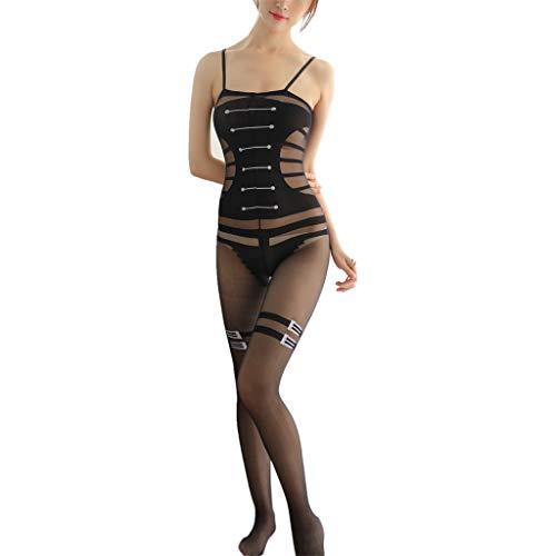 Damen sexy Bodysuit, Nachtwäsche Dessous Frauen, Spitze Öffnung einteiliges Mesh, bluestercool Netzstrümpfe mit offenem Schritt Body Stocking
