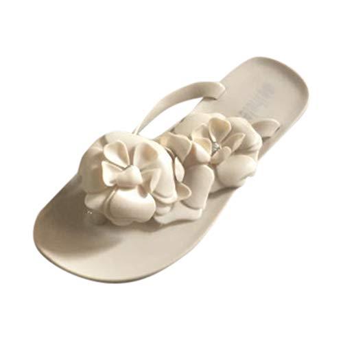 YEARNLY Frauen Hausschuhe Candy Farbe mit schönen Camellia Beach Sandalen Flats Schuhe Frauen Hausschuhe Süßigkeitenfarbe Hausschuhe Schön Kamelie Strand Sandalen Flache Schuhe Schwarz, Beige 36-41