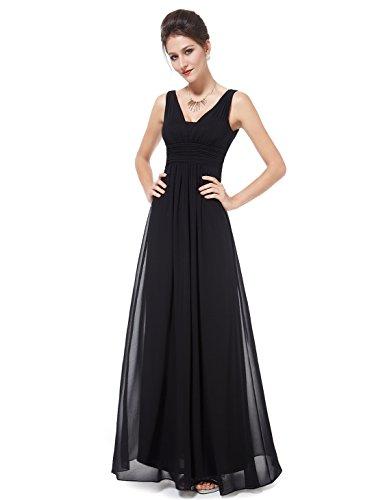 Ever Pretty Damen Chiffon V-Ausschnitt Lang Abendkleider Abschlussball Kleider 08110 Schwarz