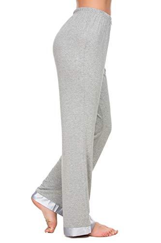 Alcea Rosea Pyjamahose mit breitem Bein, Nachtwäsche, Damen, lockere Lounge, PJ Spitze, Hose S-XL - Grau - Klein -