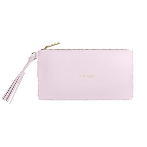 Katie Loxton Tassel Pouch mit verschiedenen Sprüchen - weiß, grau, rosa, mintgrün - modisches Accessoire mit Reißverschluss - Clutch - veganes Leder (rosa Pretty perfect)