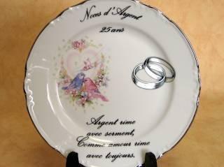 AVENUELAFAYETTE Assiette décorative 25 ans de mariage