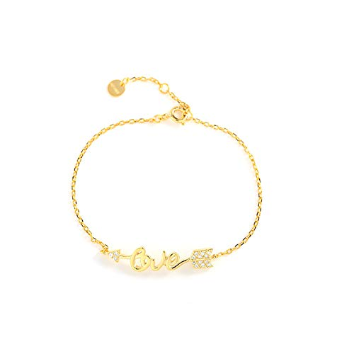 QWQ69 Damen Armbänder 925 Silber Liebe Pfeil Design Cupid Pfeil Brief Armband Paar Geschenk