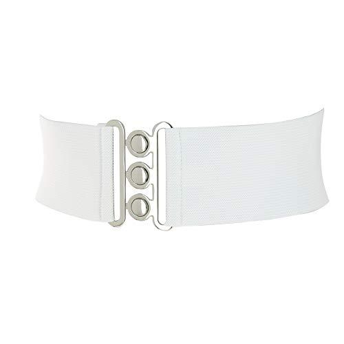 Fashiongen - Damen Breiter elastische gürtel, GLORIA, In Frankreich Hergestellt - Weiß, XL / 44 bis 46